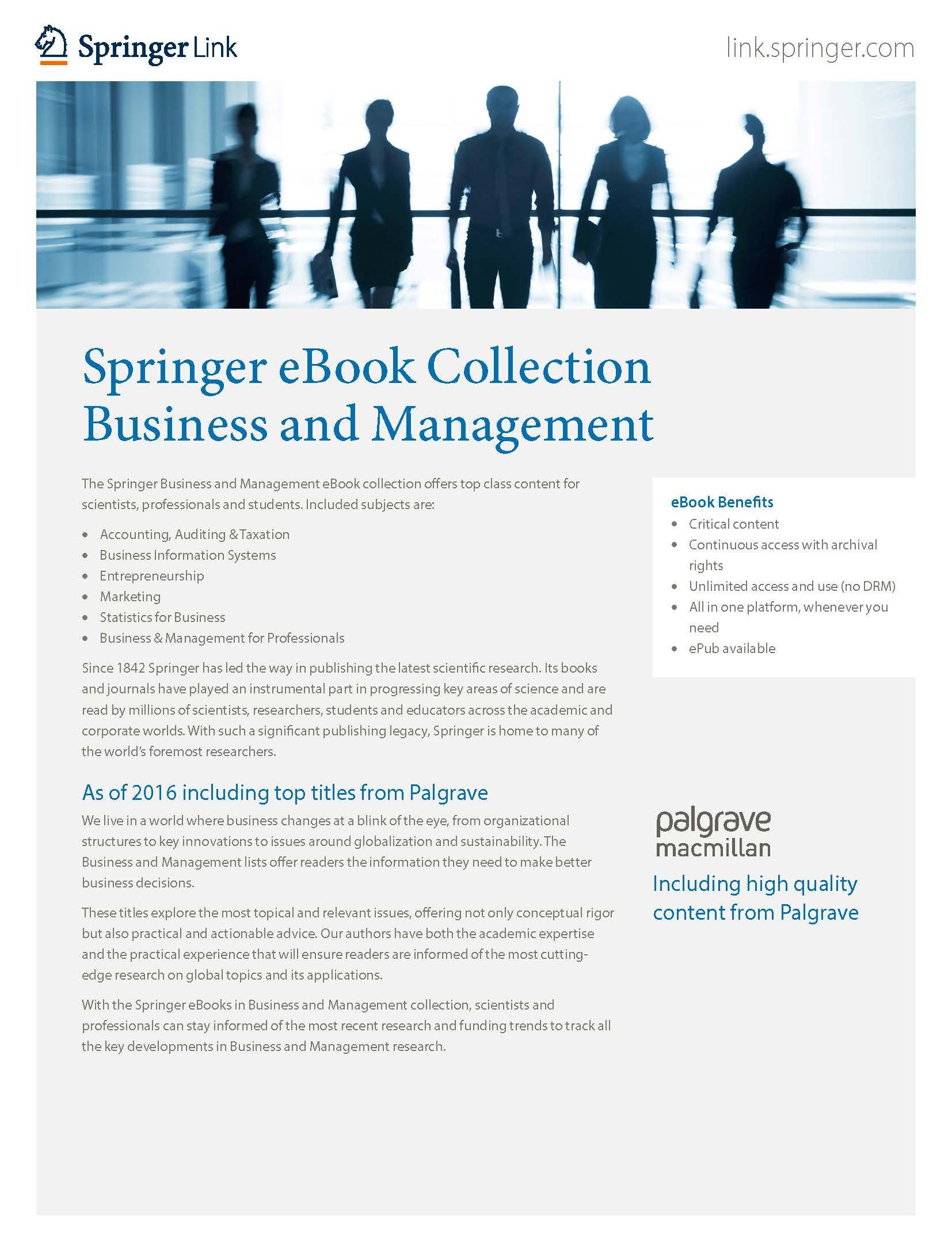 Springer brochures for librarians springer nature ebooks collection business management fandeluxe Images