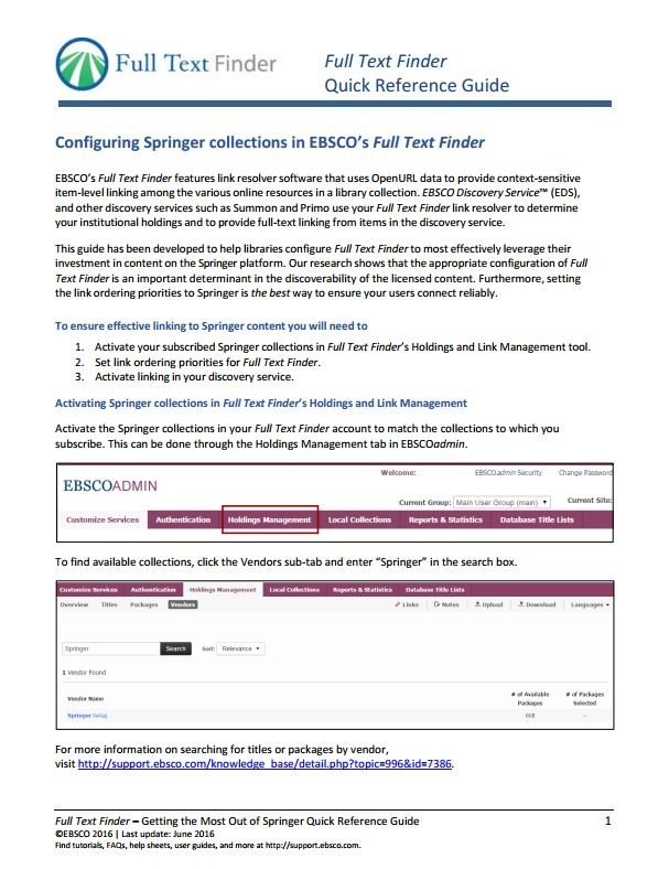 EBSCO FullTextFinder quick reference guide