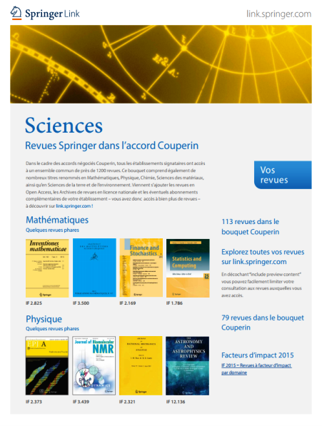 Revues Springer dans l'accord Couperin - Sciences