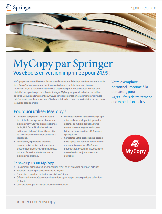 MyCopy par Springer - Vos eBooks en version imprimée pour 24,99 !