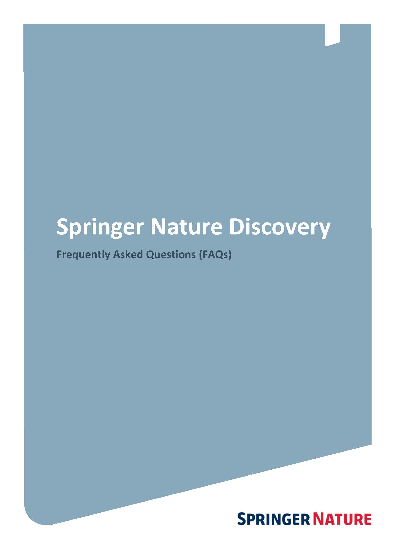 Springer Nature Discovery Frequently Asked Questions (FAQs)