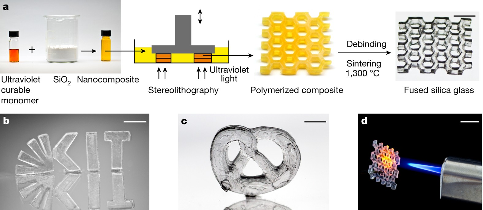 Three-dimensional printing of transparent fused silica glass