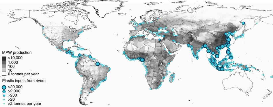 River plastic emissions to the world\'s oceans   Nature ...