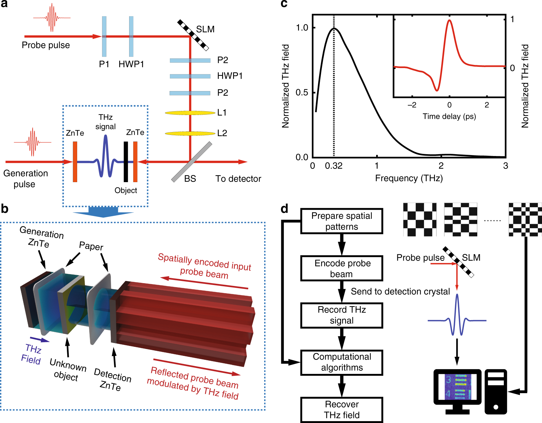 Spatial sampling of terahertz fields with sub-wavelength accuracy