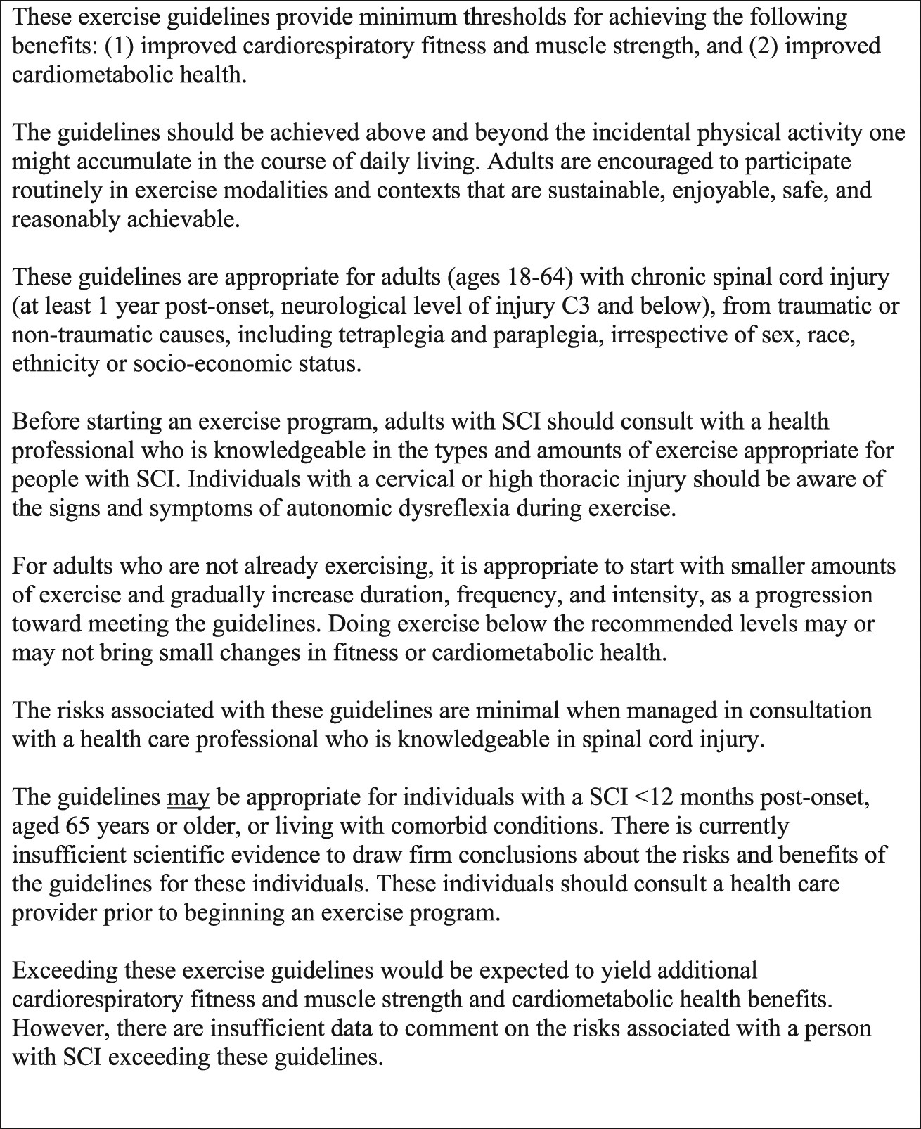 Evidence-based scientific exercise guidelines for adults