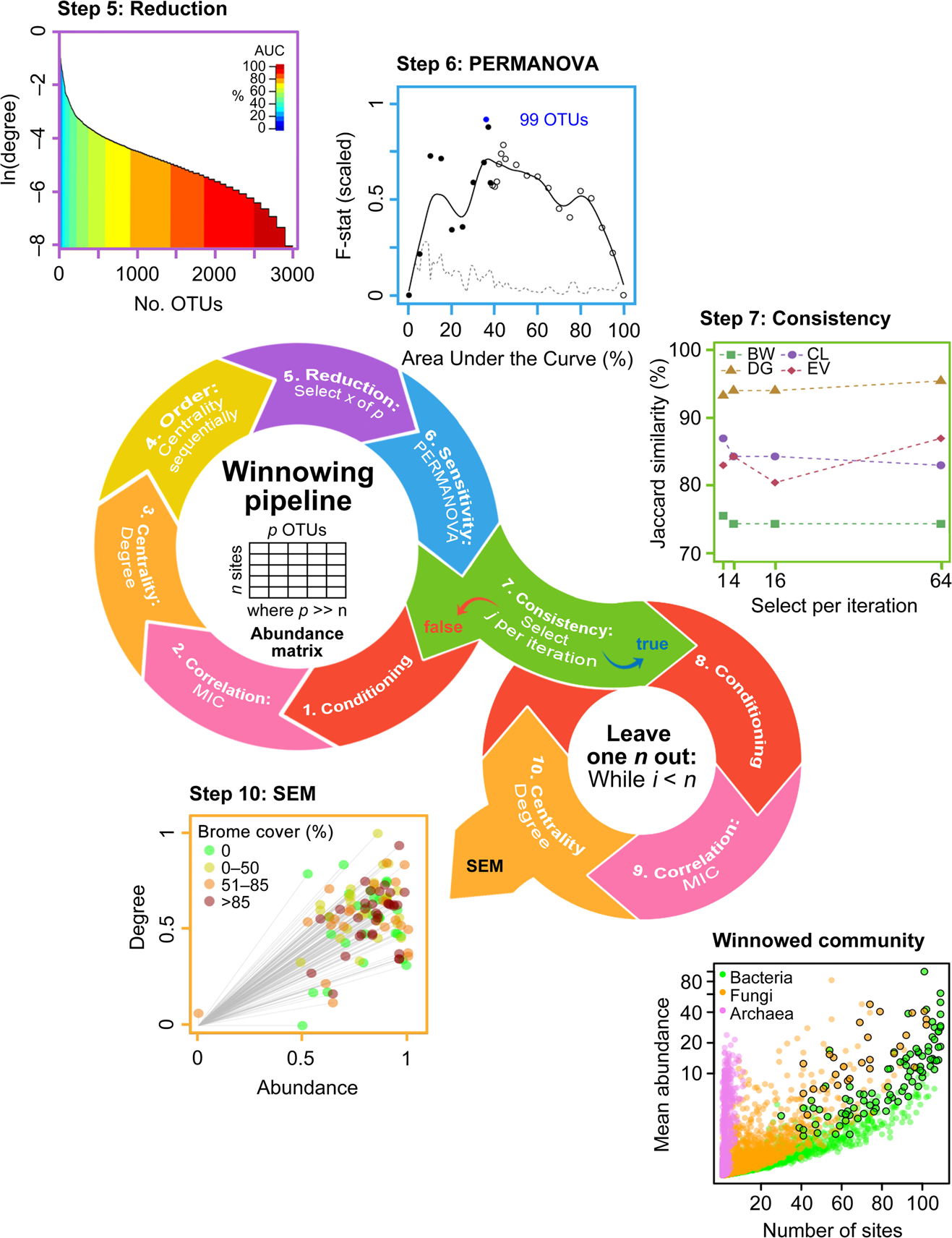 Structural equation modeling of a winnowed soil microbiome