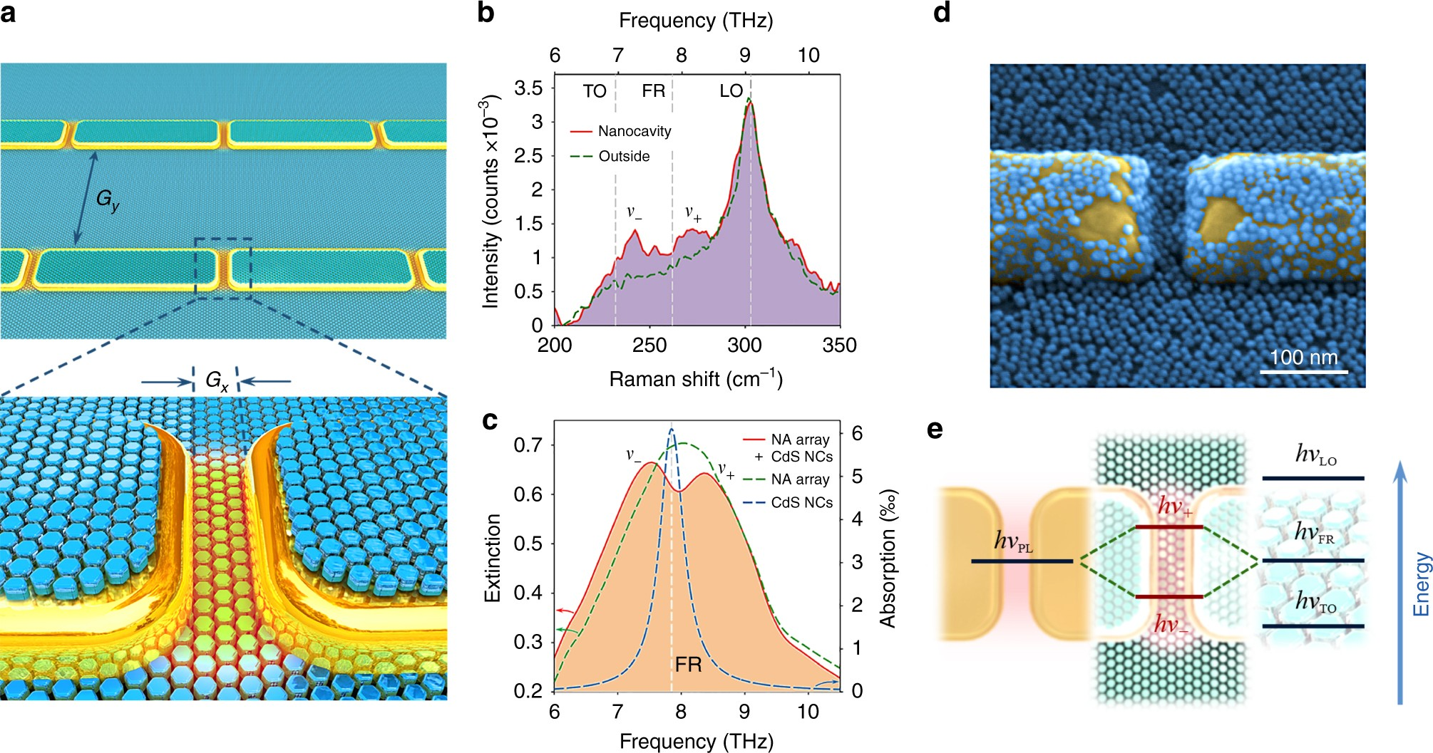 Reshaping The Phonon Energy Landscape Of Nanocrystals Inside A Terahertz Transistors Plasmonic Nanocavity Nature Communications