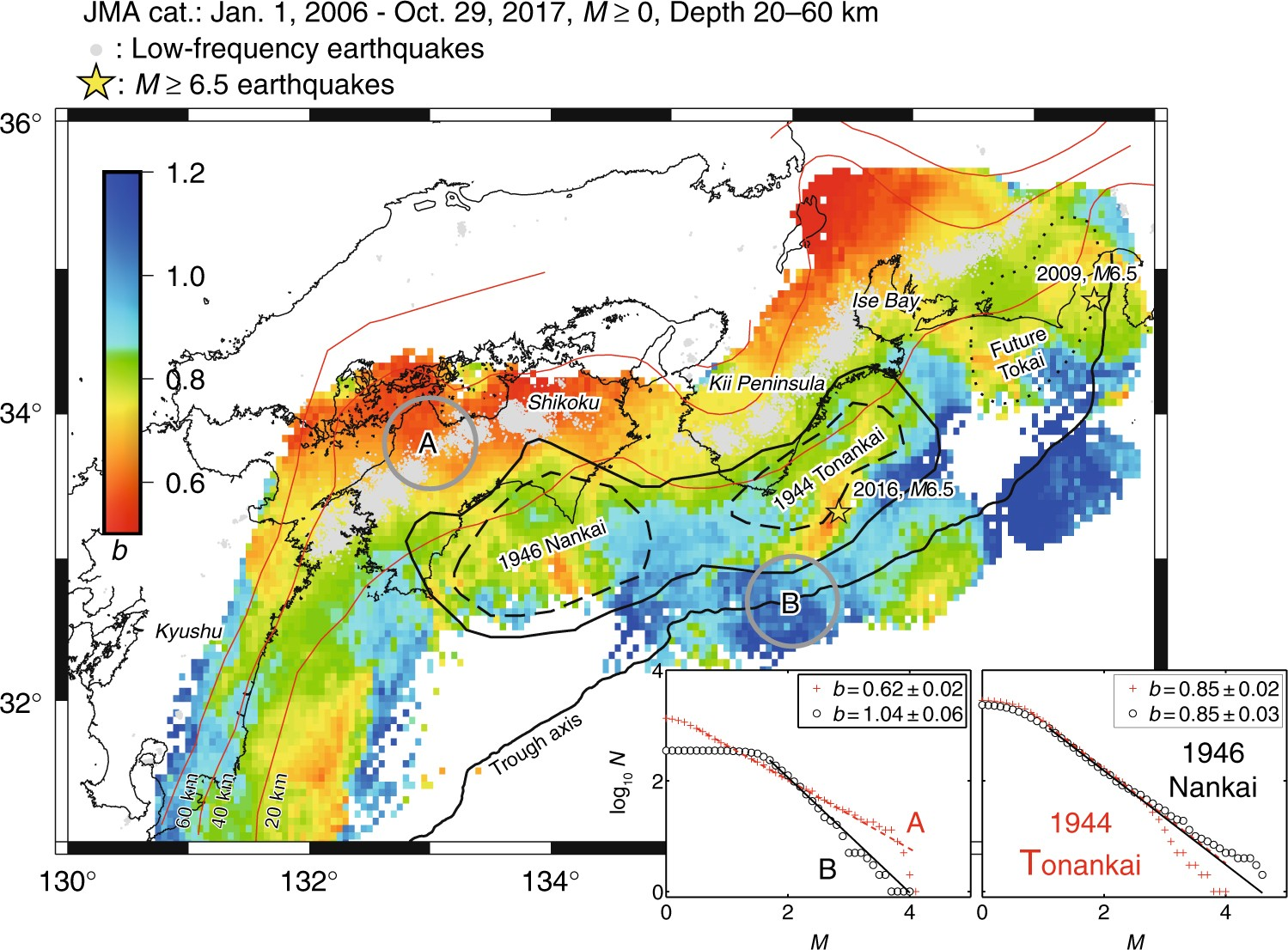 A b map implying the first eastern rupture of the Nankai