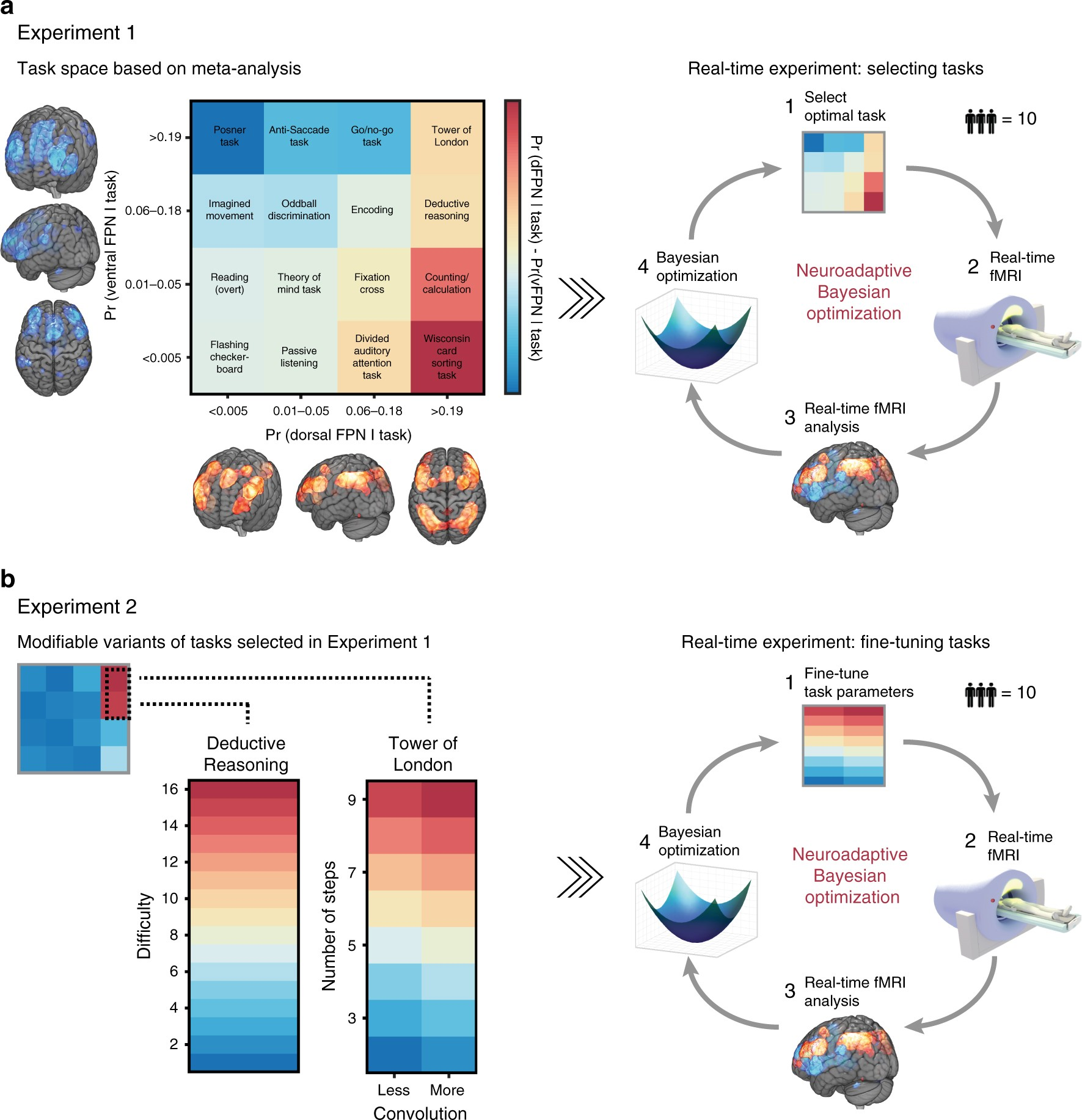 Dissociating frontoparietal brain networks with neuroadaptive