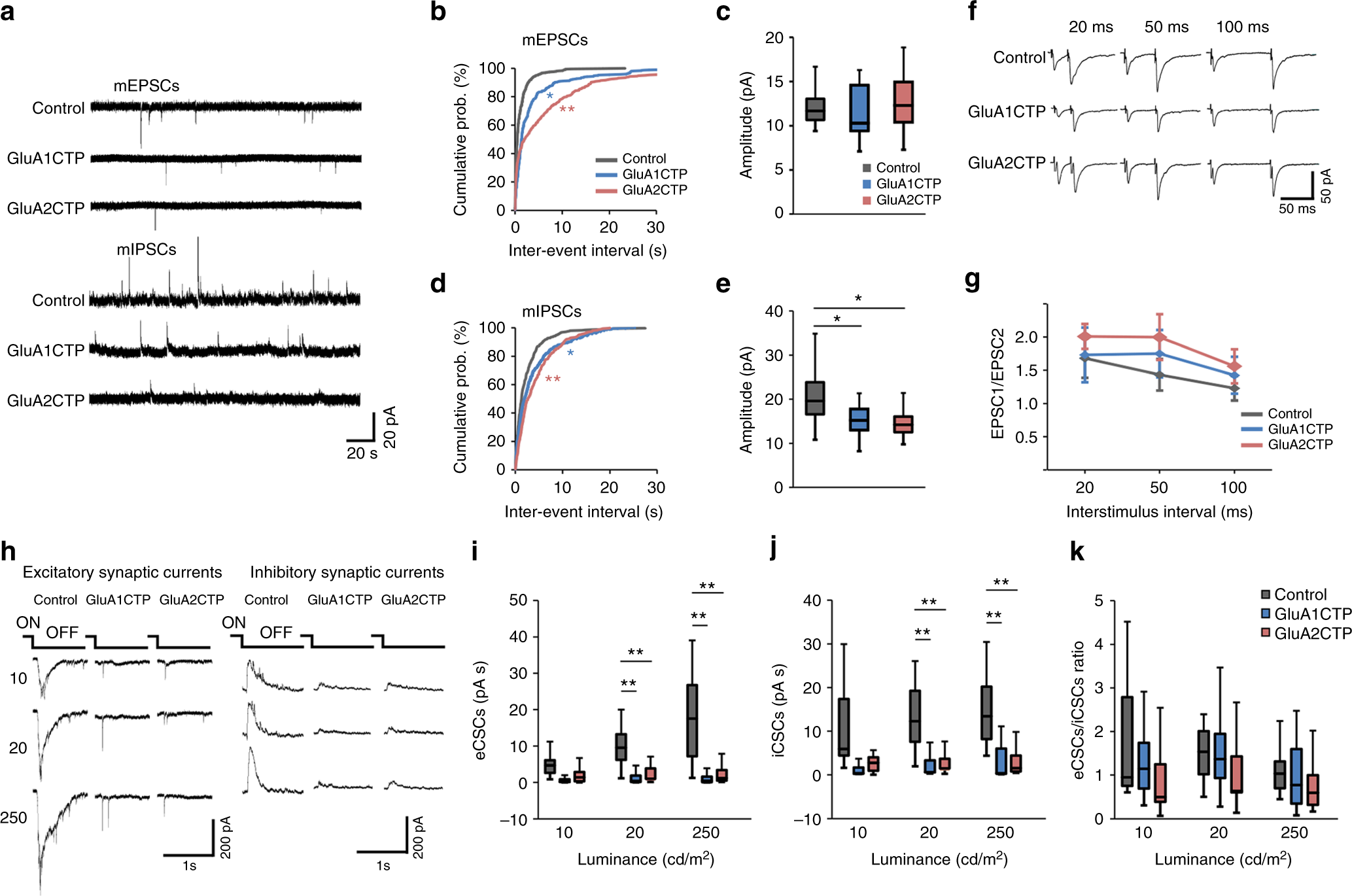 Excitatory synaptic dysfunction cell-autonomously decreases