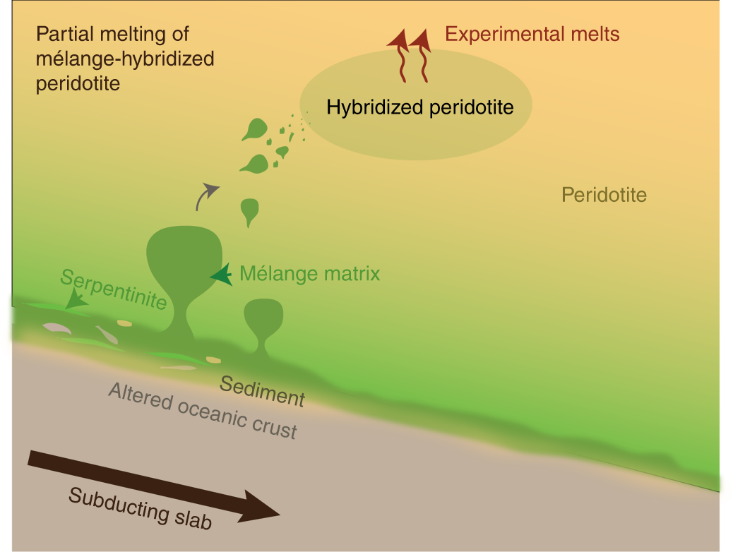 Arc-like magmas generated by mélange-peridotite interaction in the