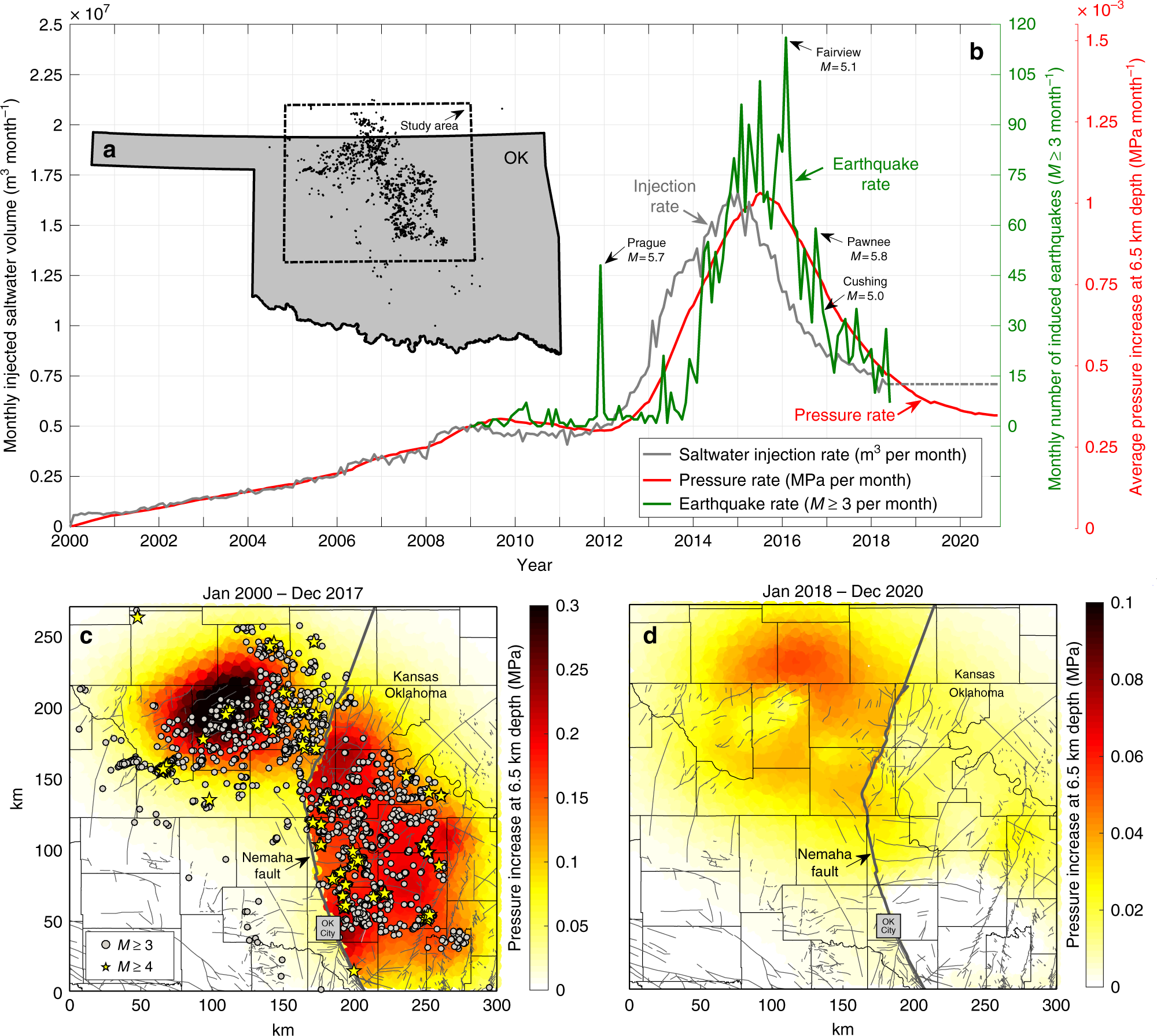 Physics-based forecasting of man-made earthquake hazards in ... on map of volcanic activity, map of radon, map of volcanoes, map of radiation, map of hail, map of coastal areas, map of flooding, map of crime statistics, map of bridges, map of tunnels, map of water table, map of tornadoes,