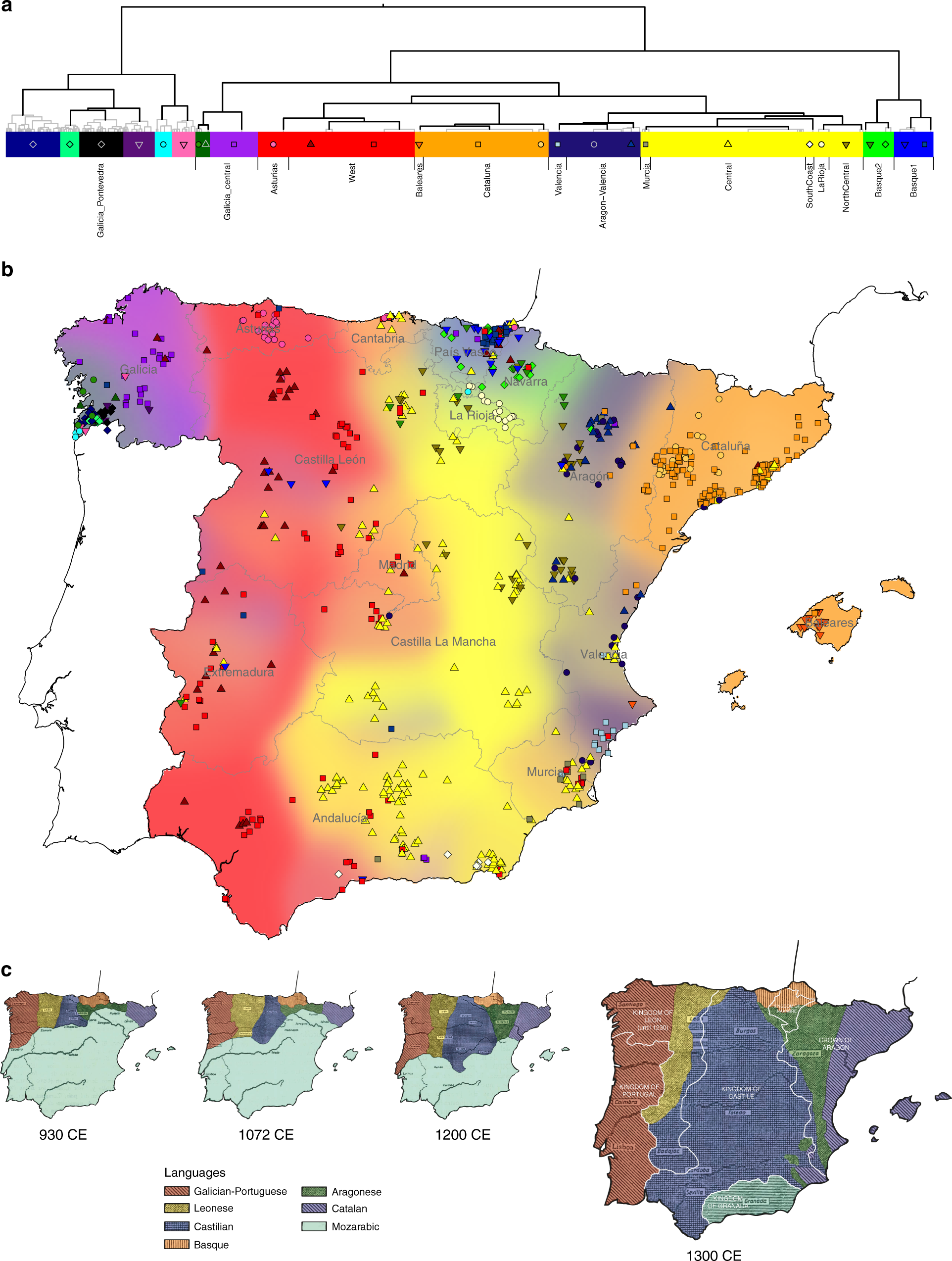 Andalucia On Map Of Spain.Patterns Of Genetic Differentiation And The Footprints Of Historical