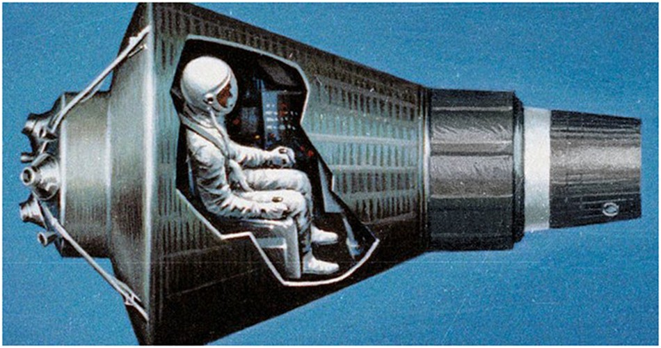 Mercury capsule with astronaut depiction