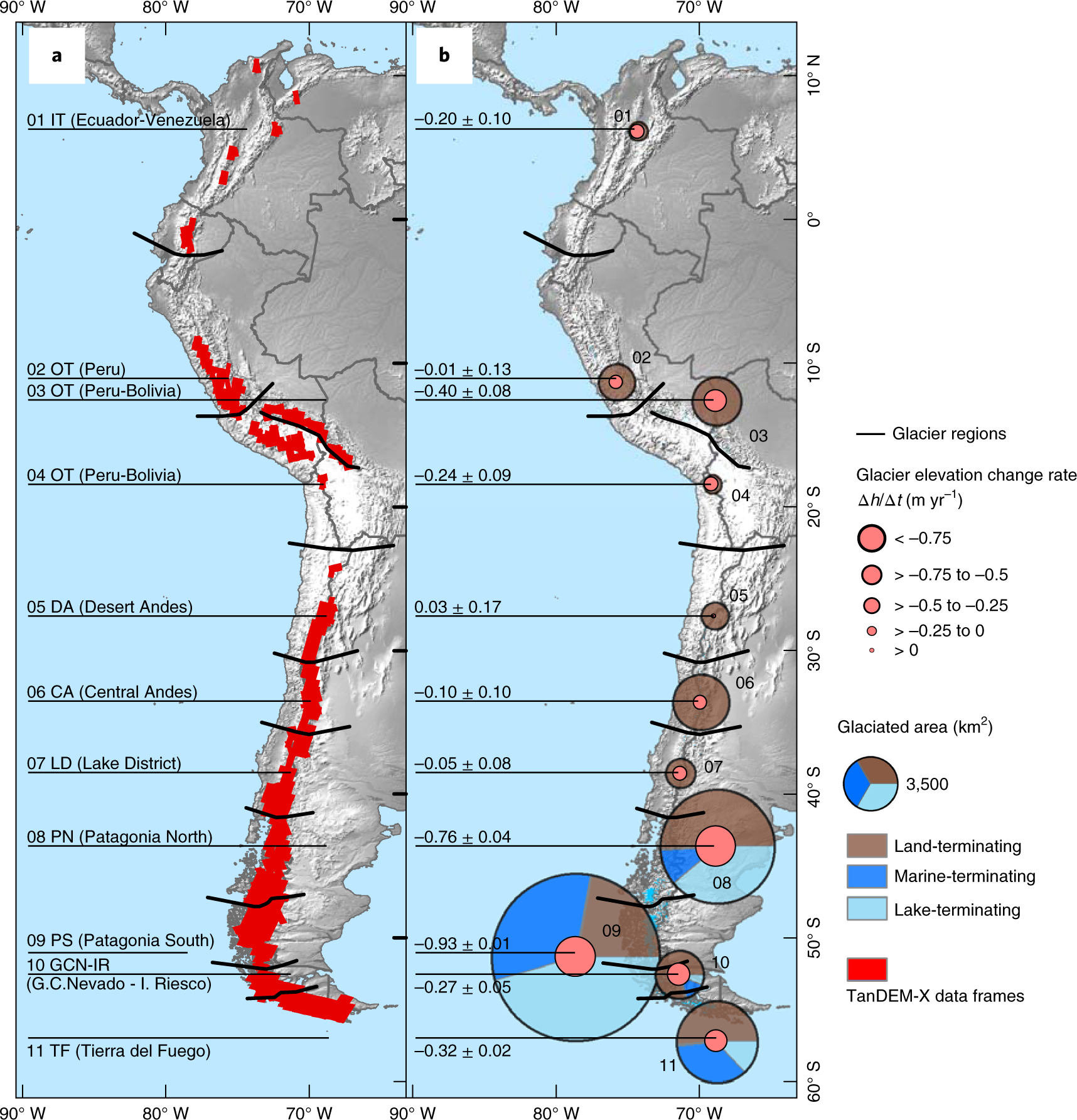 Constraining glacier elevation and mass changes in South America ...
