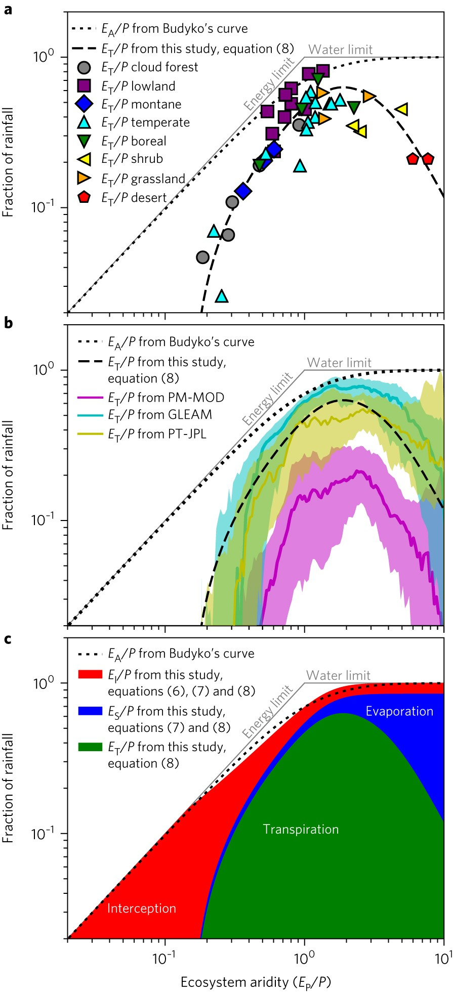A mesic maximum in biological water use demarcates biome