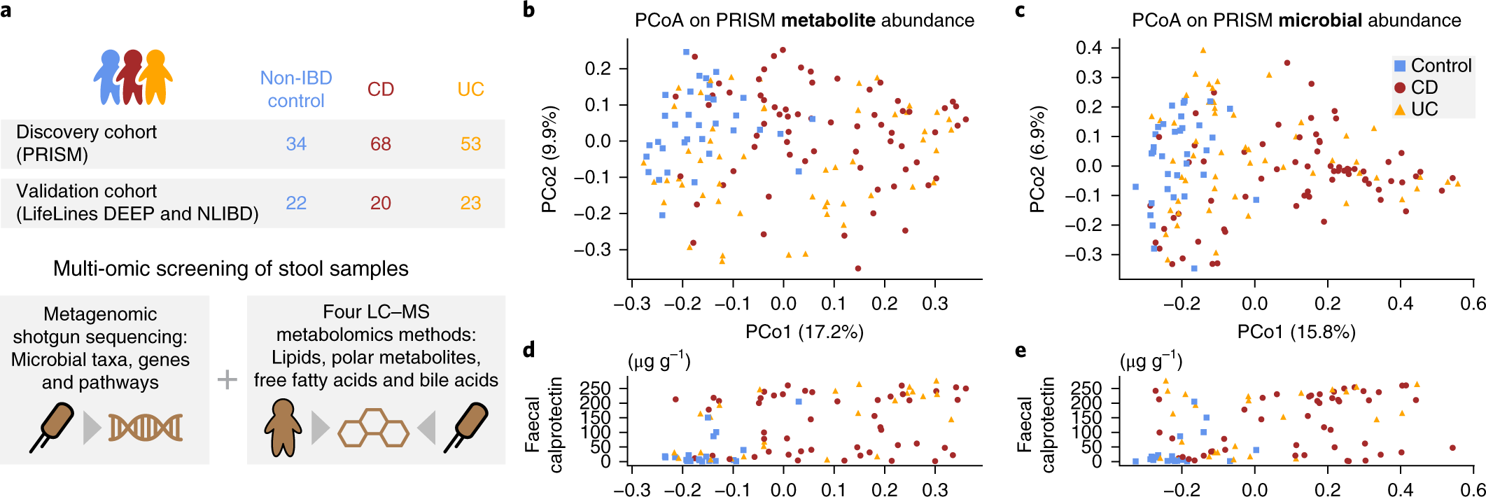 Gut microbiome structure and metabolic activity in inflammatory