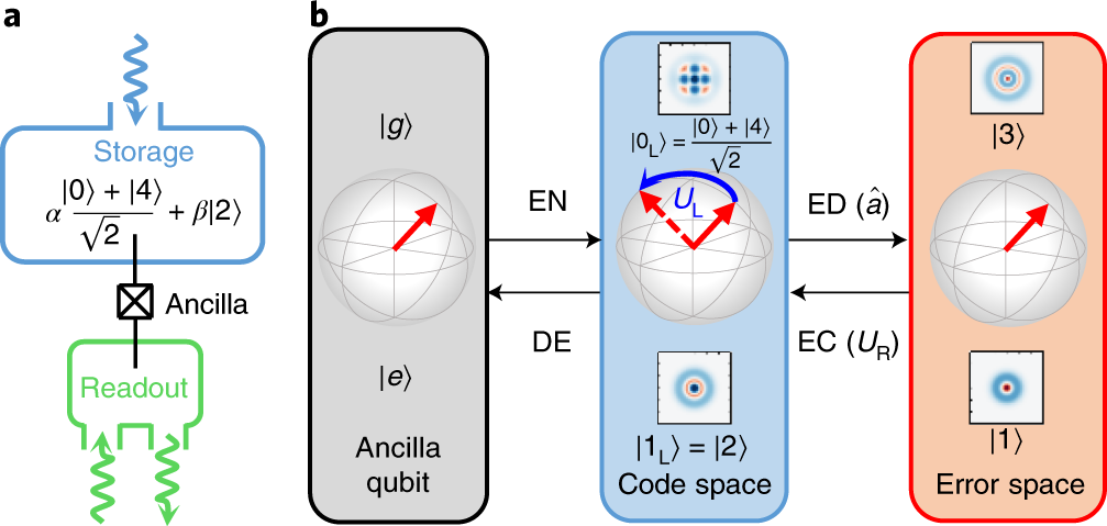 Quantum error correction and universal gate set operation on a