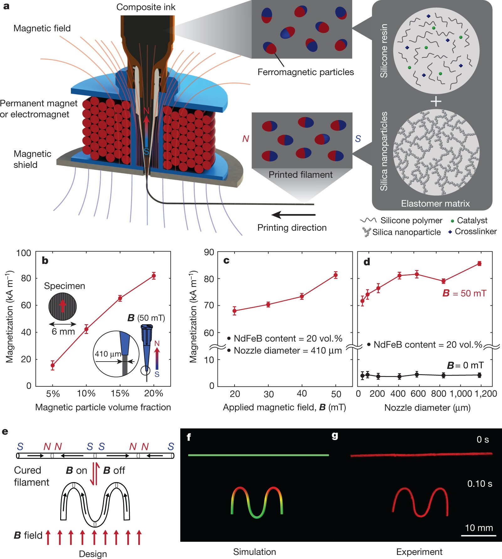 Printing ferromagnetic domains for untethered fast