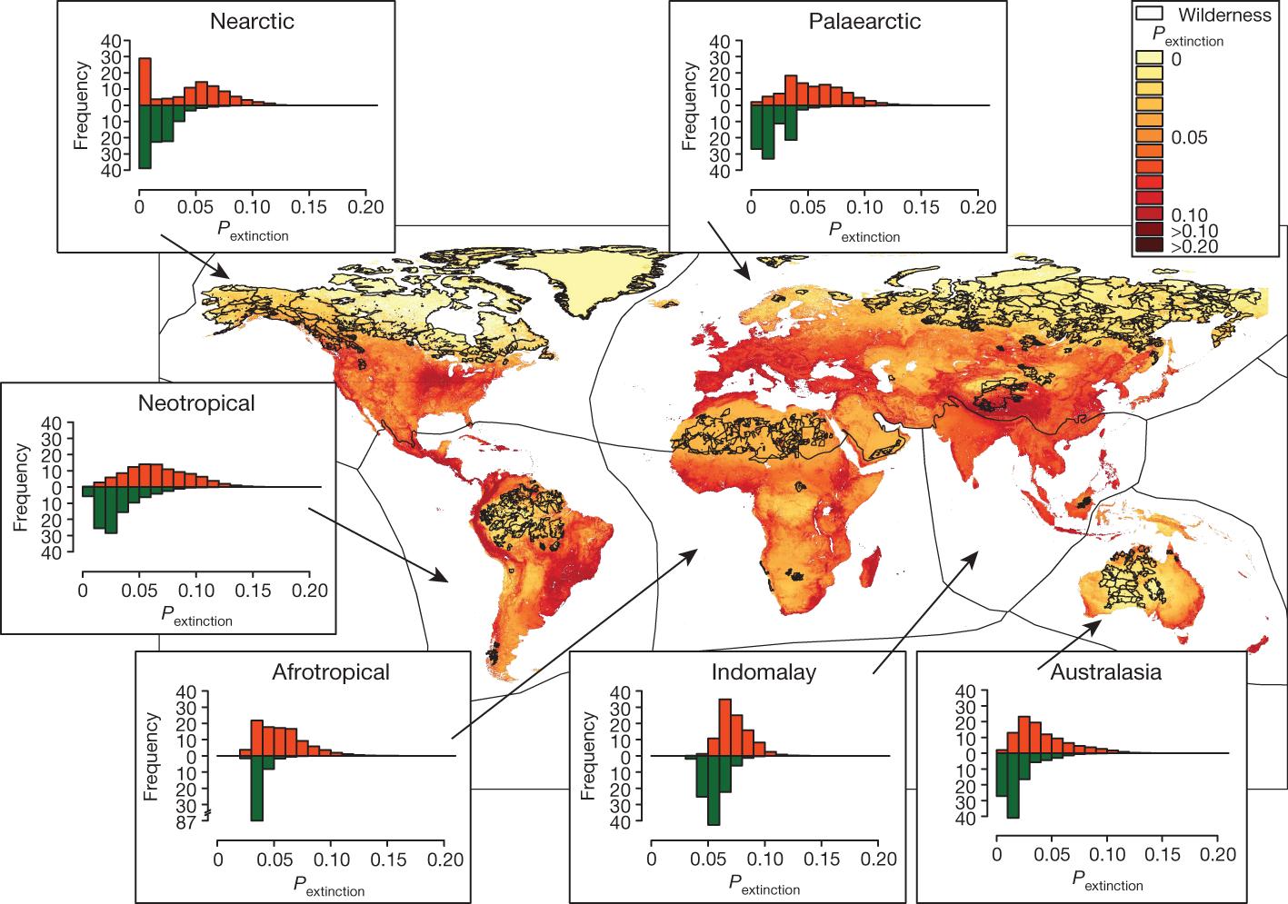 Wilderness areas halve the extinction risk of terrestrial biodiversity