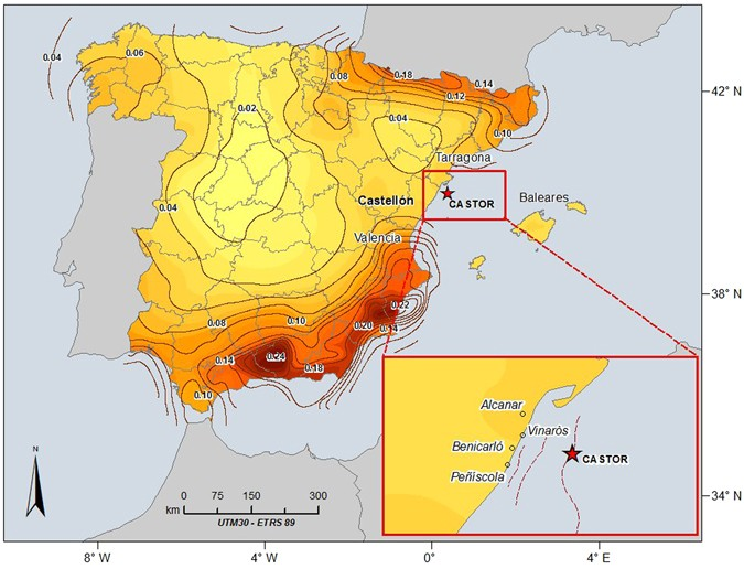 Map Of Spain Coast.Temporal Evolution Of A Seismic Sequence Induced By A Gas Injection