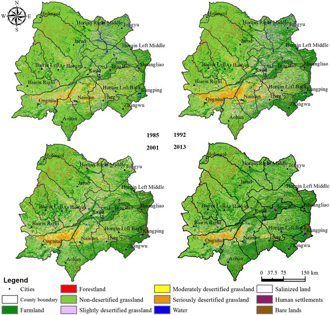 Historical grassland desertification changes in the Horqin Sandy ...