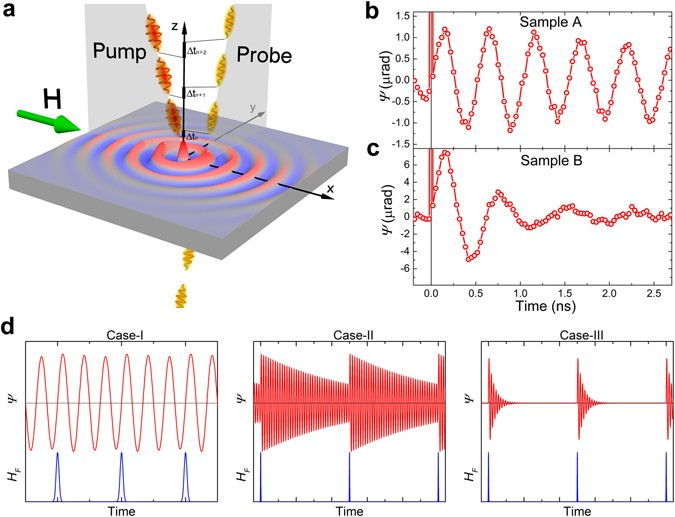 Generation of spin waves by a train of fs-laser pulses: a