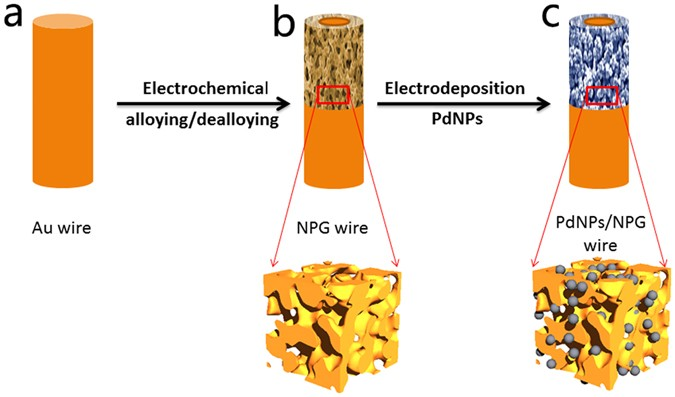 Palladium nanoparticles entrapped in a self-supporting nanoporous