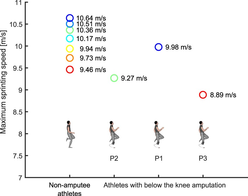 Elite long jumpers with below the knee prostheses approach