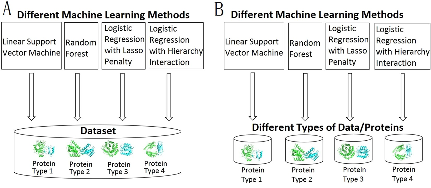 Different protein-protein interface patterns predicted by