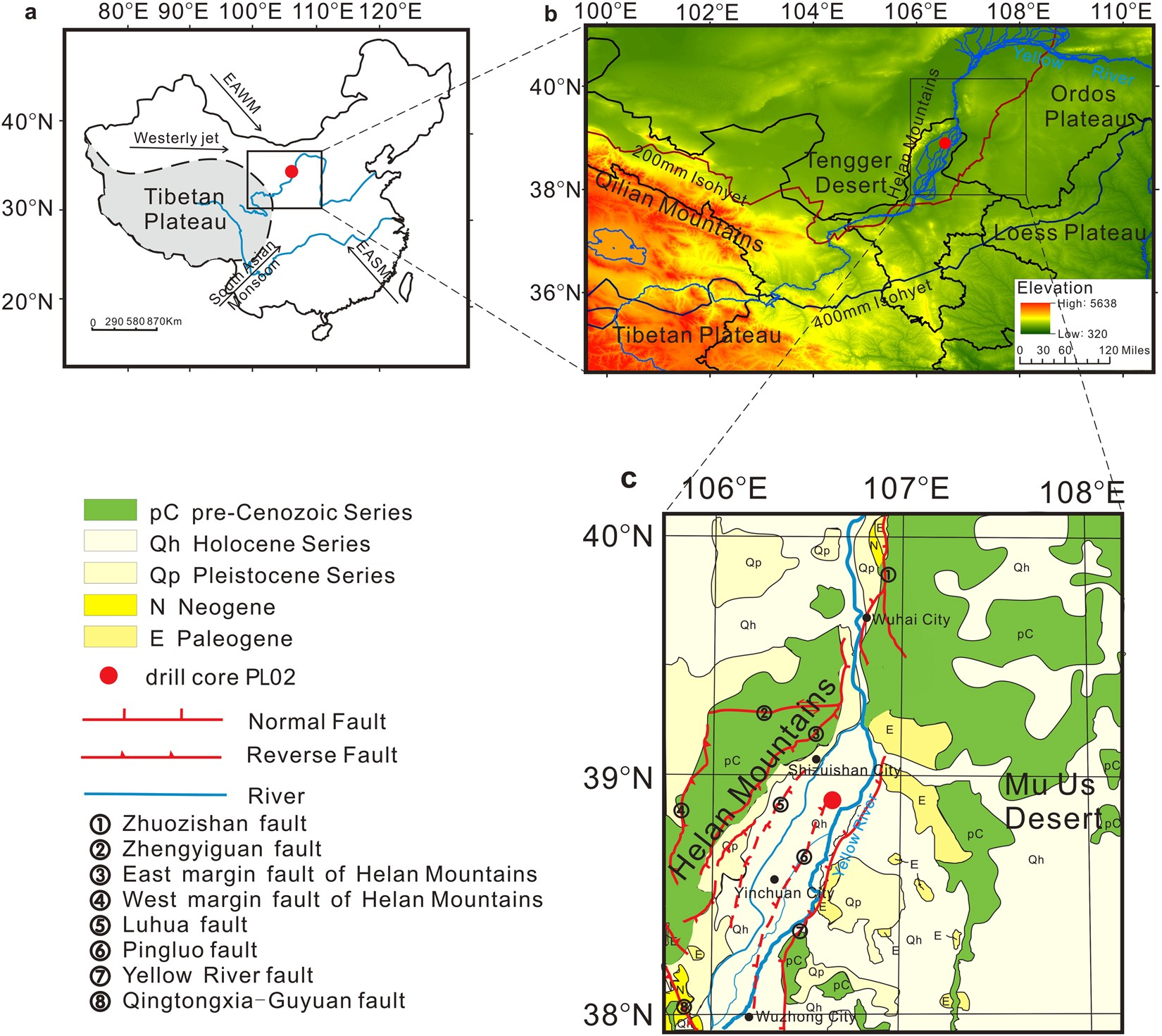 3d066fdef22b Phased uplift of the northeastern Tibetan Plateau inferred from a pollen  record from Yinchuan Basin