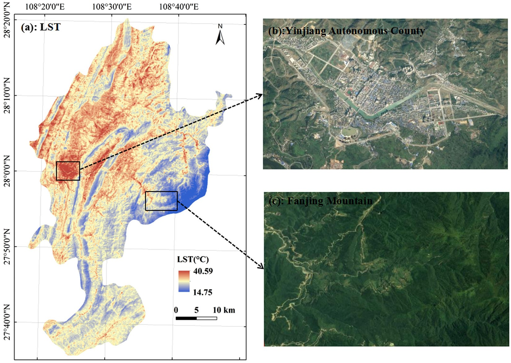 Relationship among land surface temperature and LUCC, NDVI