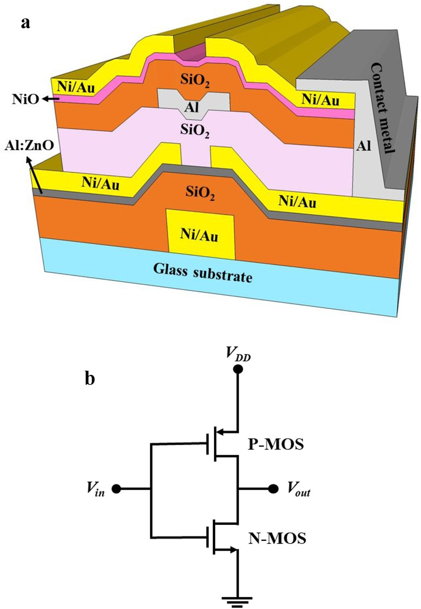 Three Dimensional Stacked Complementary Thin Film Transistors Using Simple Inverter Circuit 6 N Type Alzno And P Nio Scientific Reports
