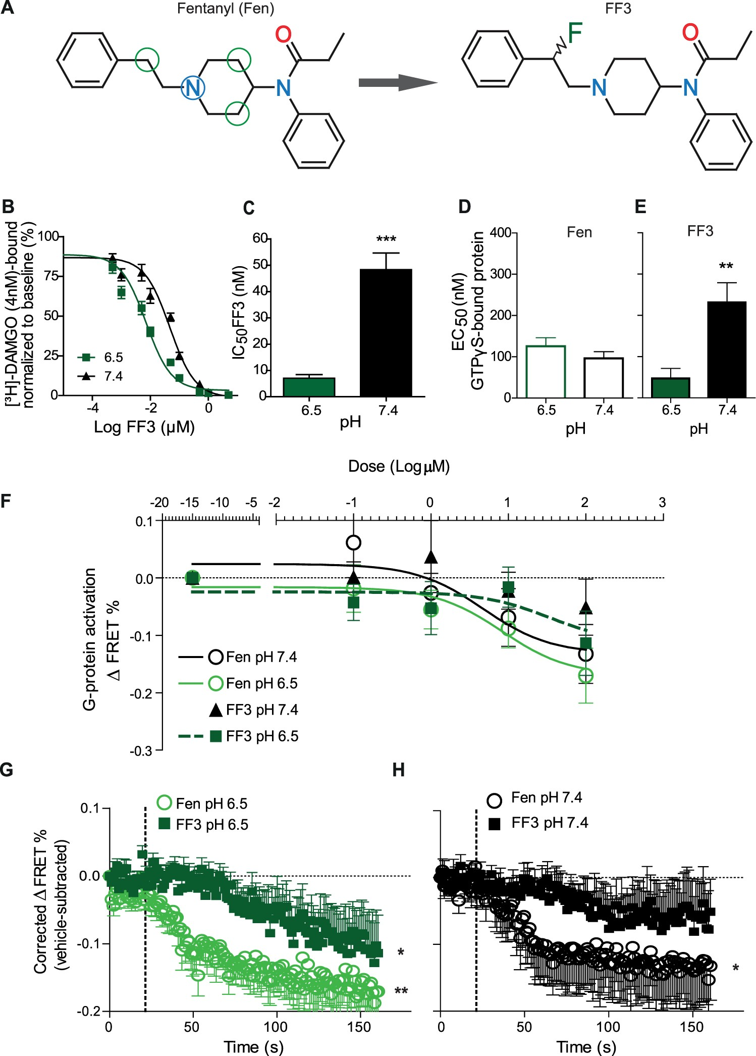 Opioid receptor signaling, analgesic and side effects induced by a