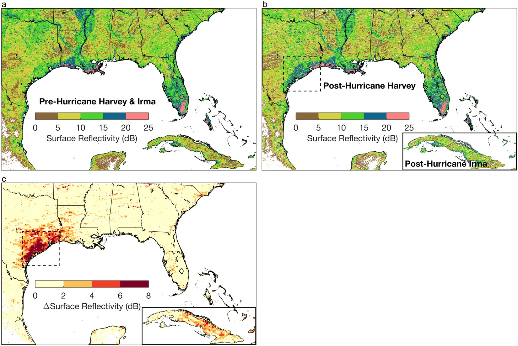 CYGNSS data map flood inundation during the 2017 Atlantic hurricane ...