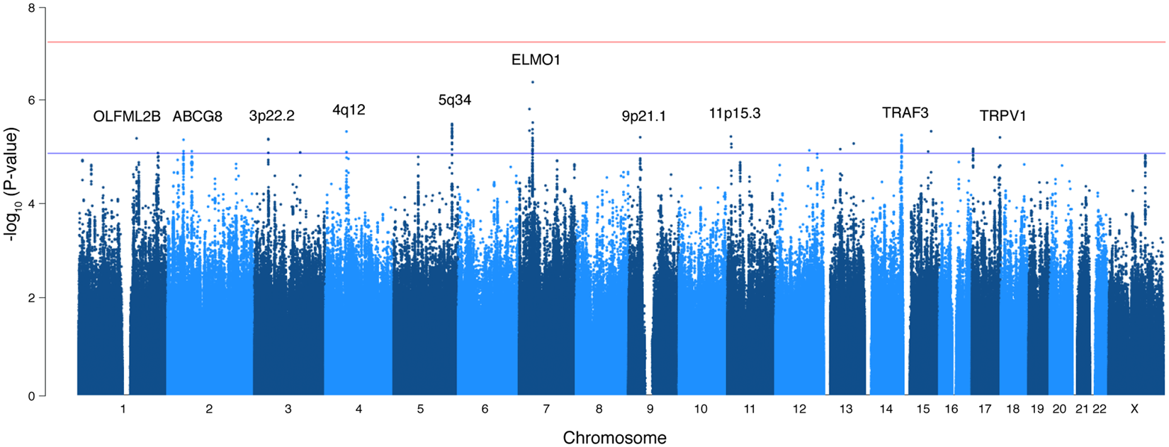 Variants in ABCG8 and TRAF3 genes confer risk for gallstone