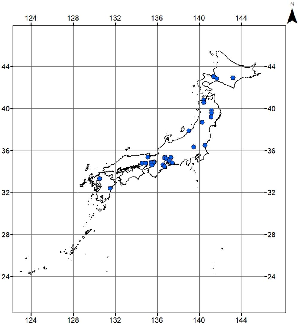River Metabolism along a Latitudinal Gradient across Japan