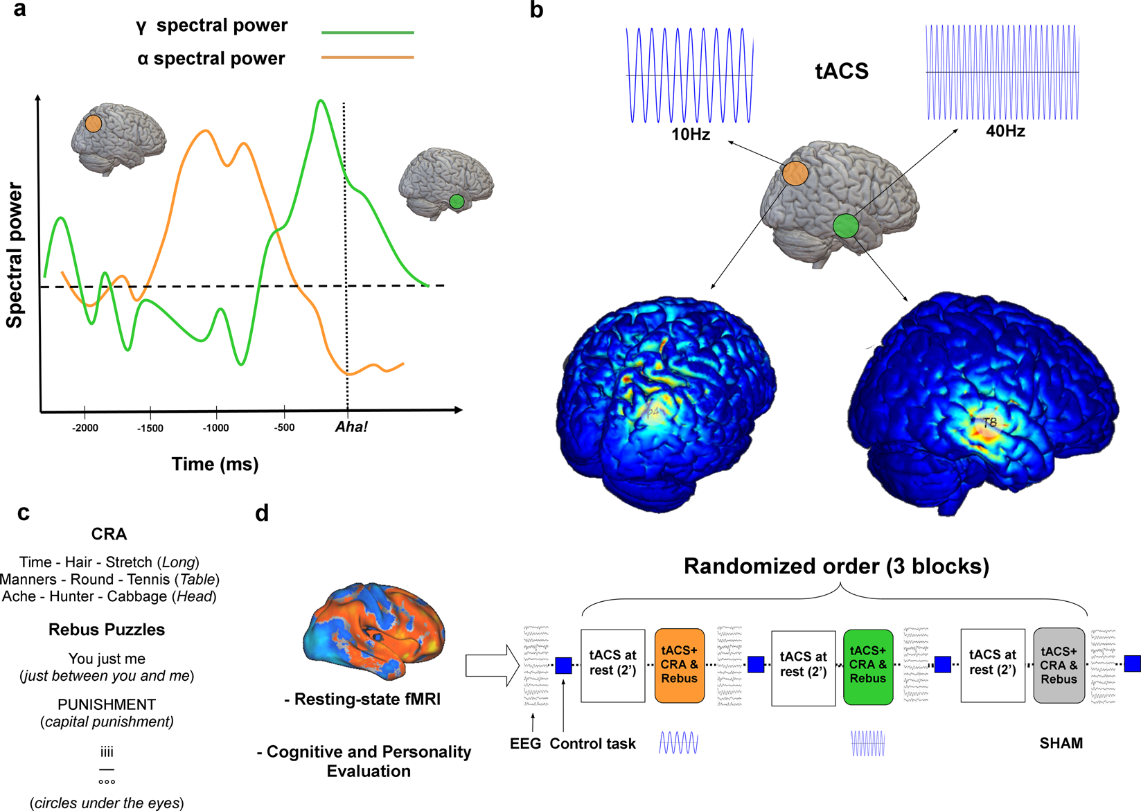 Gamma tACS over the temporal lobe increases the occurrence