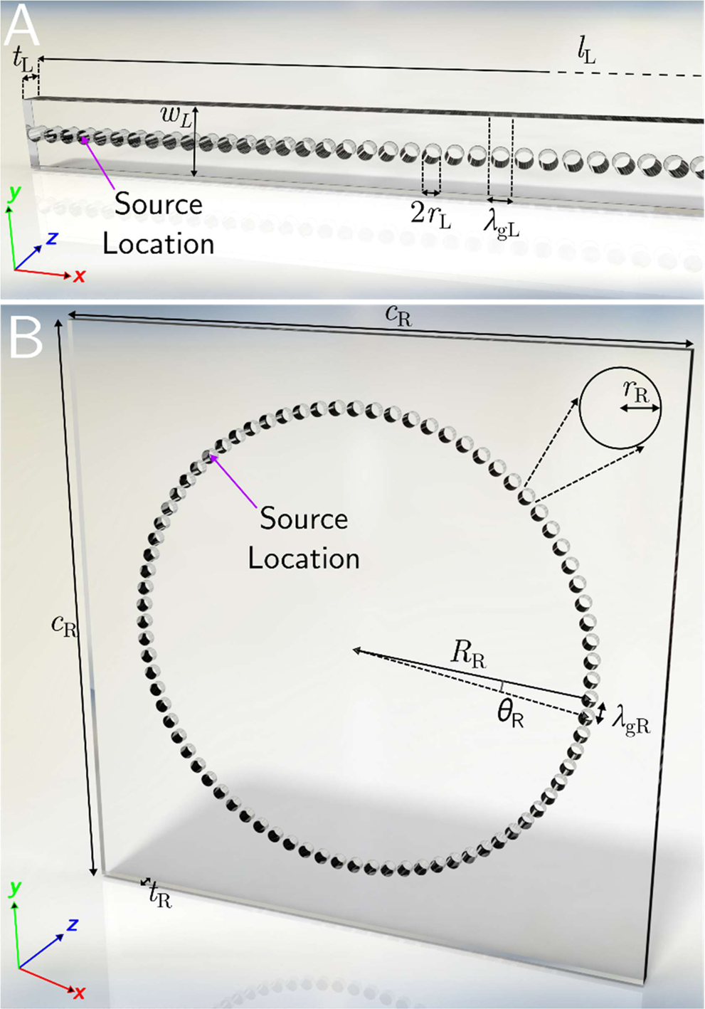 The waveguiding of sound using lines of resonant holes