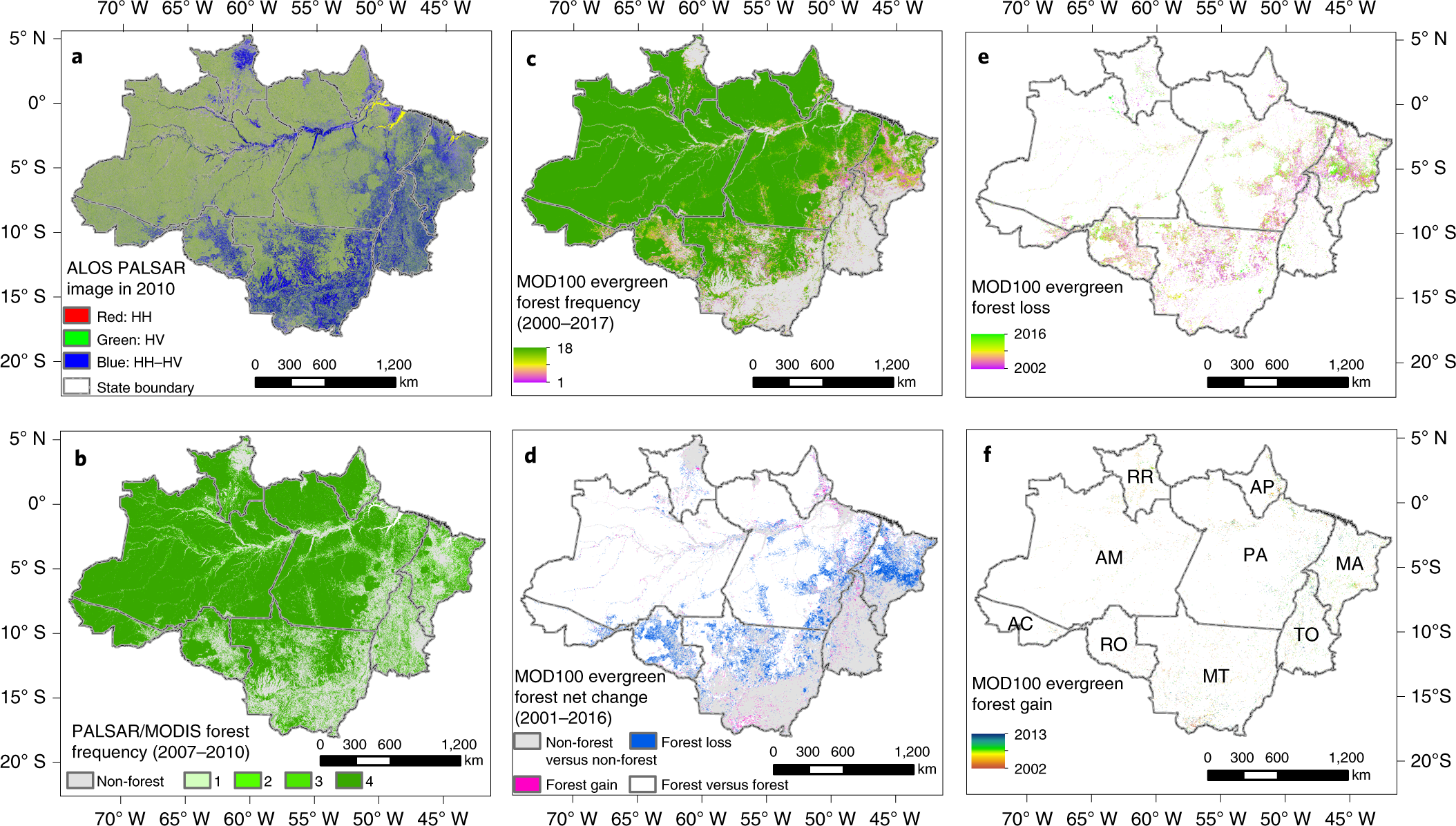 Improved estimates of forest cover and loss in the Brazilian Amazon in