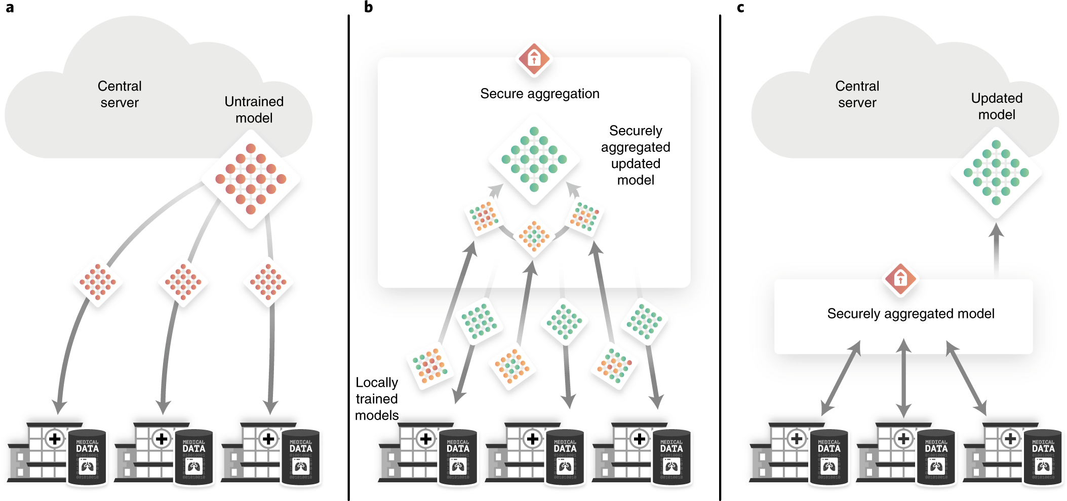 End to end privacy preserving deep learning on multi institutional ...