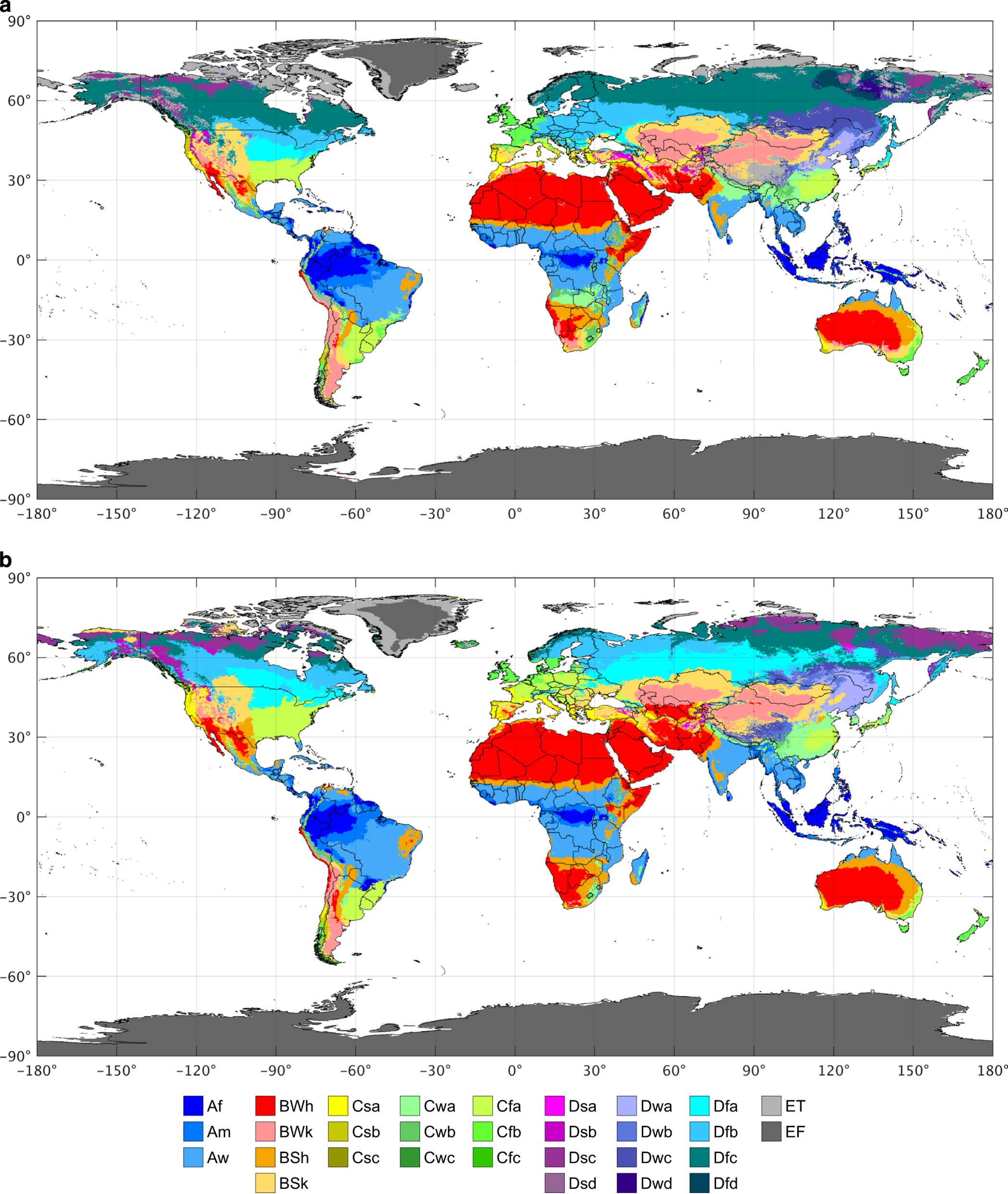 Present and future Köppen-Geiger climate classification maps ...