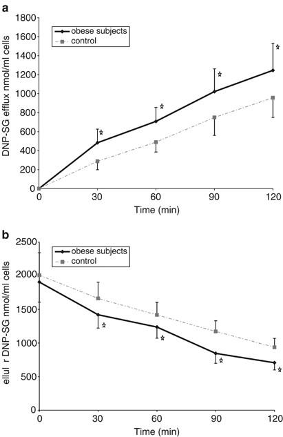 Increased glutathione conjugate transport: a possible compensatory