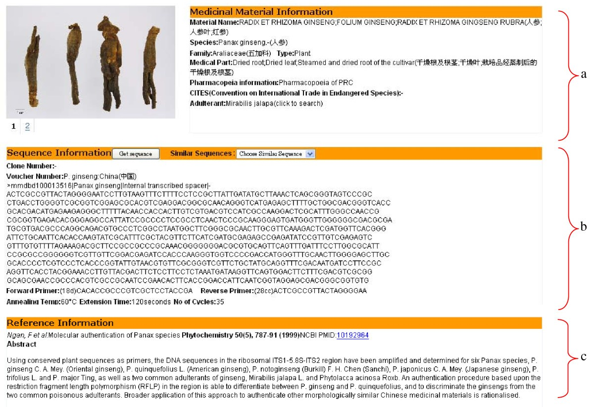 an integrated web medicinal materials dna database mmdbd medicinal