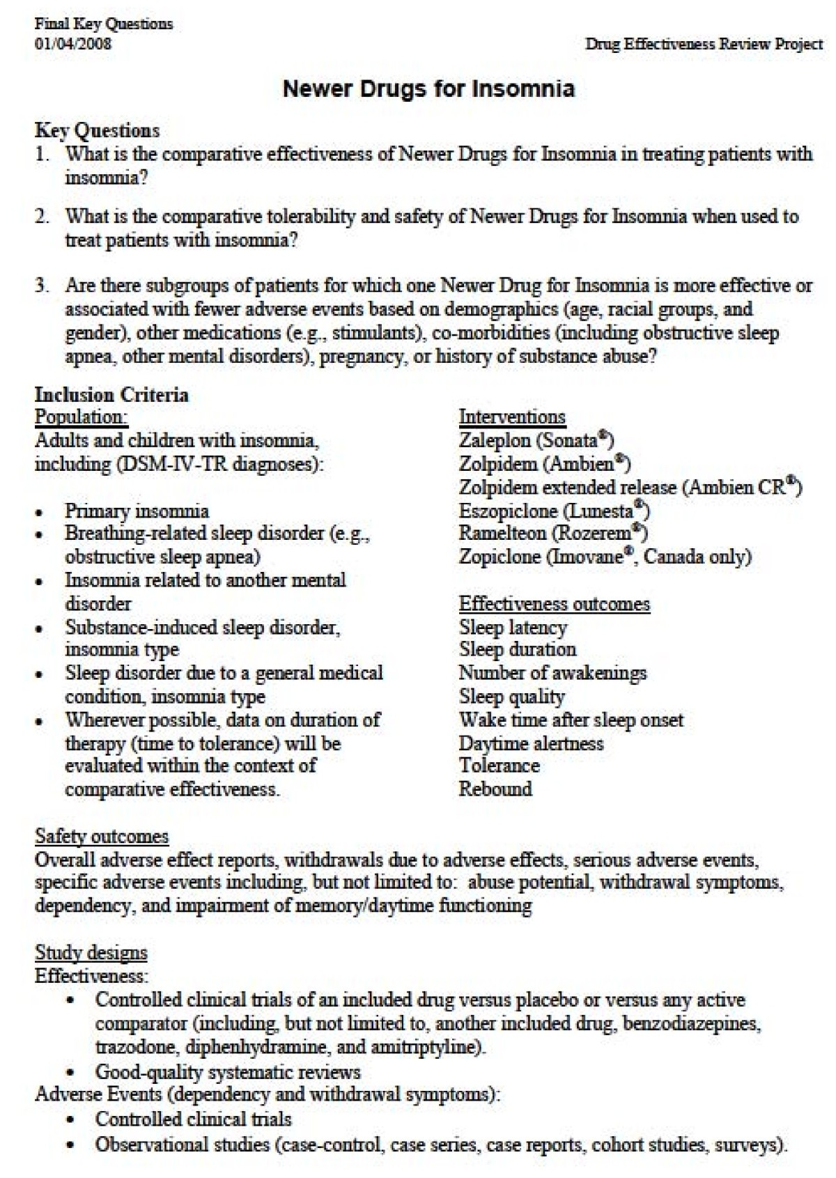 Methods For The Drug Effectiveness Review Project