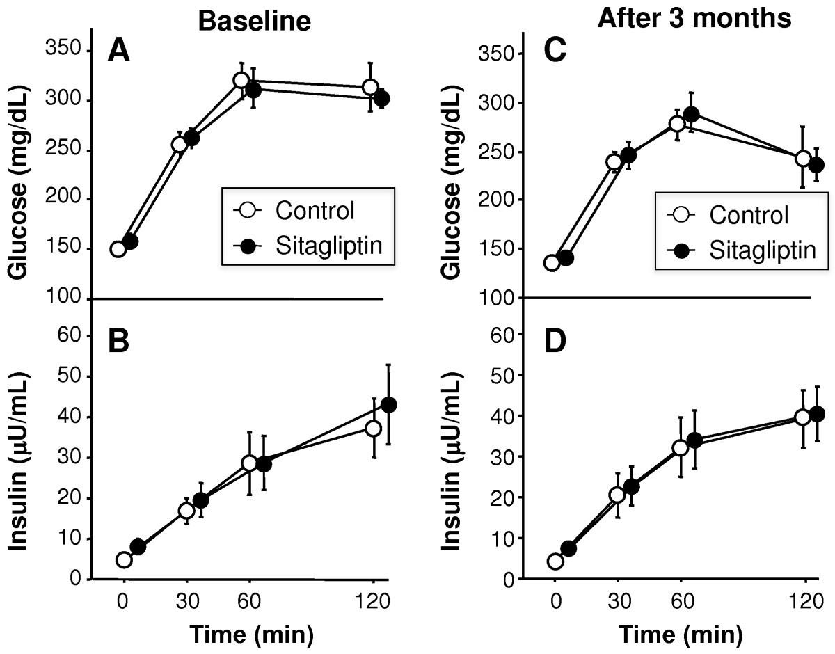 A pilot three-month sitagliptin treatment increases serum