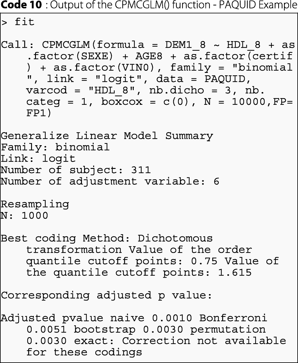 CPMCGLM: an R package for p-value adjustment when looking for an