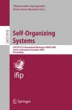 Self-management of Routing on Human Proximity Networks