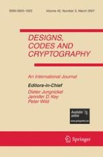 Designs, Codes and Cryptography 3/2007