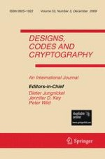 Designs, Codes and Cryptography 3/2009